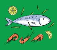 Pescados y camarones en backgruond verde Fotografía de archivo libre de regalías