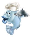 Pescados y campana de cristal del cocinero de la historieta Foto de archivo