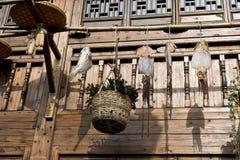 Pescados y cesta colgados Foto de archivo libre de regalías