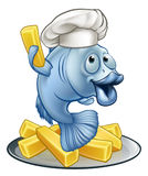 Pescados y Chips Chef Cartoon Character Imagen de archivo libre de regalías