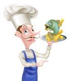 Pescados y Chips Chef Pointing Imagen de archivo libre de regalías