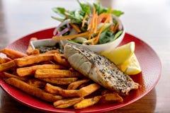 Pescados y Chips Meal australianos del Pub fotos de archivo libres de regalías