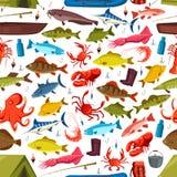 Pescados y moluscos que pescan el modelo inconsútil del vector stock de ilustración