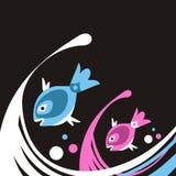 Pescados y ondas stock de ilustración