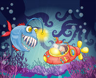 Pescados y submarino del monstruo Fotografía de archivo