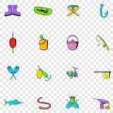 Pescando ícones ajustados Imagens de Stock