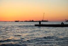 Pescando al mare Fotografia Stock Libera da Diritti