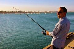 Pescando al pilastro di Cunningham Geelong Immagini Stock Libere da Diritti
