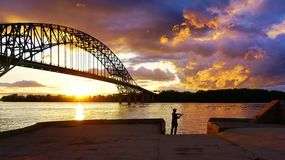 Pescando al tramonto Fotografie Stock Libere da Diritti