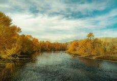 Pescando in Boise River Fotografie Stock