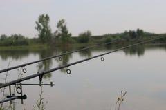 Pescando con i coni retinici sul lago immagini stock