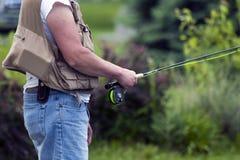 Pescando dal lago Immagini Stock Libere da Diritti