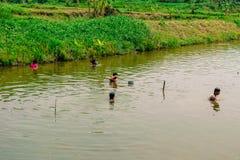 Pescando e raccogliendo qualcosa Fotografie Stock Libere da Diritti
