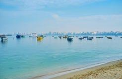 Pescando em Alexandria, Egito Fotos de Stock