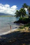 Pescando en Kihei, Hawaii fotografía de archivo