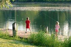 Pescando en Lansing, MI Imágenes de archivo libres de regalías