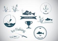 Pescando etiquetas e elementos do projeto Fotografia de Stock