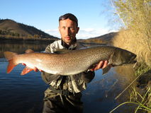 Pescando in Mongolia Fotografie Stock Libere da Diritti