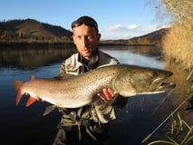 Pescando in Mongolia Fotografia Stock