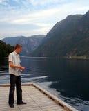 Pescando nel fiordo Immagini Stock Libere da Diritti
