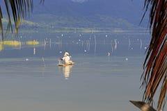 Pescando nel lago Bosumtwe Immagine Stock Libera da Diritti