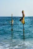 Pescando nel modo tradizionale vicino a Galle nello Sri Lanka Fotografia Stock Libera da Diritti