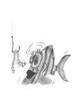 Pescando nella caricatura Fotografia Stock Libera da Diritti