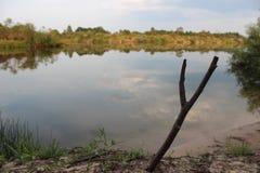 Pescando no alvorecer, o passatempo, relaxa Vara de pesca com uma captura imagens de stock royalty free