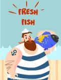 Pescando o pescador com os peixes na ilustração do vetor das mãos ilustração royalty free