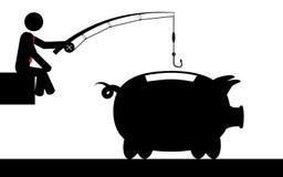 Pescando per i soldi Immagine Stock