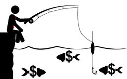 Pescando per i soldi Fotografie Stock
