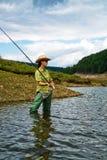 Pescando per la donna 1 Fotografia Stock Libera da Diritti