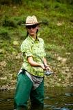 Pescando per la donna 3 Fotografia Stock