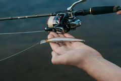 Pescando pesce dalla riva con un bastone, fine su fotografia stock