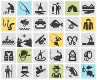 Pescando, plantilla del diseño del logotipo del vector que pesca con caña ilustración del vector