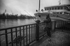 Pescando in Russia, Rostov On Don Fotografie Stock Libere da Diritti
