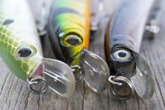 Pescando señuelos cerca para arriba imágenes de archivo libres de regalías