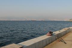 Pescando a Smirne Immagine Stock