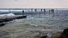 Pescando in Sri Lanka Fotografie Stock Libere da Diritti
