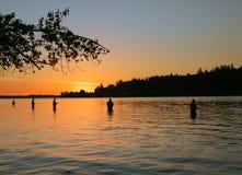 Pescando su Fraser River Immagine Stock