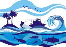 Pescando sugli alti mari Immagini Stock Libere da Diritti