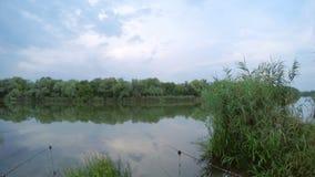 Pescando sul fiume video d archivio