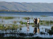 Pescando sul lago Sevan Fotografia Stock