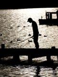 Pescando sul lago Windermere Immagine Stock