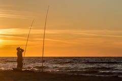 Pescando sul mare Immagine Stock