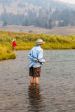 Pescando in Yellowstone Fotografie Stock