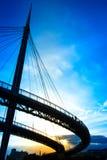 Pescara, заход солнца моста Италии, моря Стоковые Фотографии RF