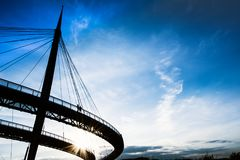 Pescara, Italië, overzeese brugzonsondergang royalty-vrije stock foto's