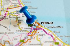 Pescara on map. With push pin Royalty Free Stock Images