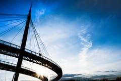 Pescara, por do sol da ponte de Itália, mar Fotos de Stock Royalty Free
